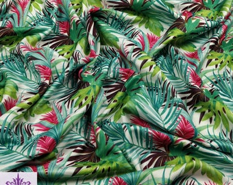 FS008_1 Flower Tropical Palm Print High Quality Jersey Stretchy Scuba Fabric - Neoprene - Green White (Per Metre)