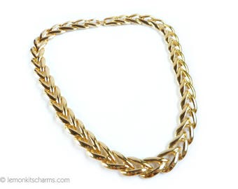 Vintage Gold Linked Chain Necklace, Jewelry 1980s, Choker Collar Style, Plain Goldtone Gold, Made in USA
