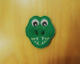 CUT Pair of machine embroidered felties, felt appliques - Alligator Gators for Hair Clips, Hair Bows, Scrapbooking, Card Making, Badge Reels