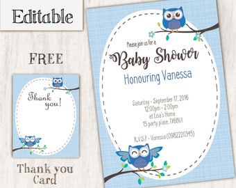INSTANT DOWNLOAD, Editable Blue Owl Baby Shower Invitations, Owl Baby Shower, Baby Boy, Invitation Editable, Owl Party