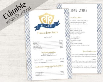 Baptism Program, Editable PDF, LDS Printable Digital Handout Baptism, navy gold program, watercolor, boy baptism, lds baptism,