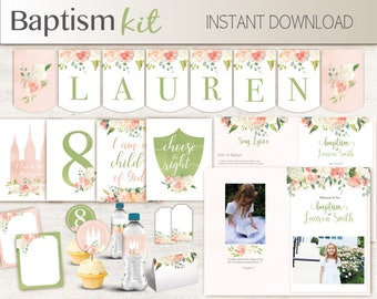 Baptism Girl Kit, Editable LDS Baptism Program, Cupcake Toppers, Water Bottle Wraps, Note Card, Poster Baptism, banner, peach green flowers