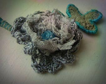 crocheted lace beaded flower corsage pin brooch