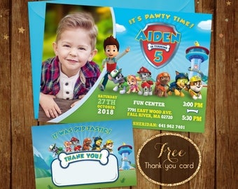 Paw Patrol Printable Invitation, Paw Patrol Birthday Invitation, Paw Patrol Photo Invitation, Paw Patrol Invite with Picture, Chase, Rocky