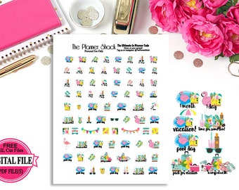 Vacation Countdown // Printable planner stickers // planner stickers // vacation // beach // pool // Summer vacation