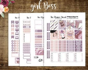 Girl Boss // Erin Condren // Printable Planner Stickers // Glam Planner // Planner Girl // Skin Tone 1 // Dark Skin