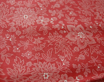 Terracotta Floral Fabric, Floral Fabric by the Yard, Terracotta Fabric, Red Floral Fabric