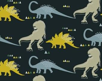 Cotton JERSEY Fabric - Dinosaurs in Dark Grey Jersey - UK Seller