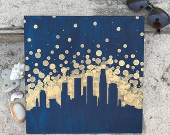 Los Angeles Skyline Painting//LA Skyline//Los Angeles Art