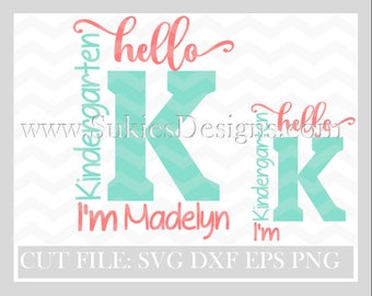 Back to school svg, school svg files, school svg cut file,Hello Kindergarten SVG, DXF, PNG Files for Cricut and Silhouette