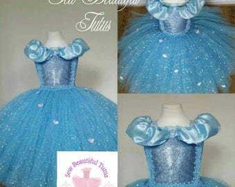 Cinderella Sparkle Ball Gown Girl tutu dress - Fun Party Outfit Fancy Cute Birthday Photo Shoot Princess Fairy Tale