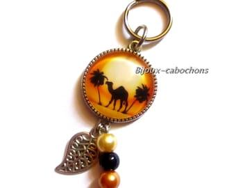 Keychain, glass cabochon, camel, dromedary, pearls, jewel bag