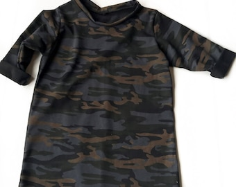 3/4 sleeve Camo top | tunic, tee, kids tee, maroon, pocket tees, kids tunics, distressed tees, distressed, toddler tops