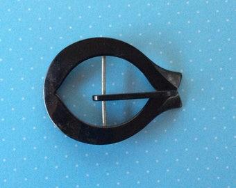 Vintage Belt Buckle - Dressmaking Belt Clasp - 1960's Style Belt Hoop - Black Belt Buckle - Sewing Haberdashery - Vintage Dressmaking