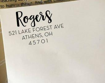 Personalized Address Stamp, Custom Return Address Stamp, Self-Inking Stamp, Wooden Eco Rubber Stamp, Family Name Address Stamp