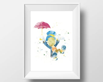 Wall Art Watercolor Jiminy Cricket Print,Pinocchio Print,Watercolor Disney ,Nursery Print,Printable Disney,Baby Gift,Room Decor,Party Decor