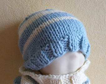 striped chunky wool kids hat size 2/4 years