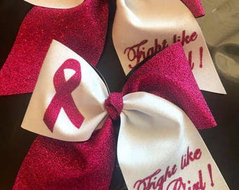 Fight like a girl! Breast cancer awareness bow