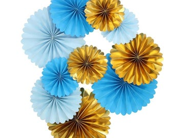 Blue and Gold Paper Pinwheel Backdrop for Prince Birthday Prty New Baby Boy Shower Pack of 10