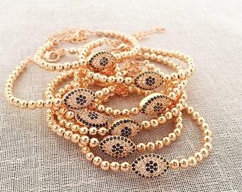 PROMO Evil eye bracelet, rose gold bracelet, evil eye beaded bracelet, adjustable bracelet, evil eye bracelet, zirconia bracelet, evil eye j