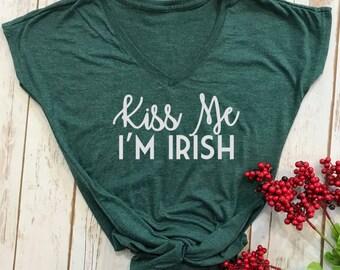 Kiss me im irish shirt- st patricks day shirt- funny st pattys day shirt- funny st patricks day shirt- funny drinking shirt- womens
