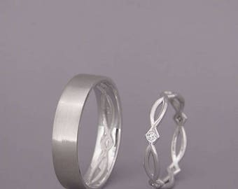 SALE! 14K White Gold Eternity Wedding Rings set with Diamonds  Handmade 14k white gold celtic wedding Rings   His and Hers Wedding Bands Set
