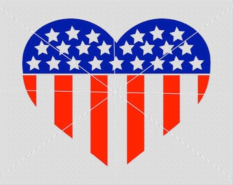 Heart Flag SVG USA Flag Independence Day 4th of July