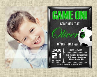 Soccer Chalkboard Invitation - Sports Party Invitation - Birthday Party Invite - Digital - Personalized Customized