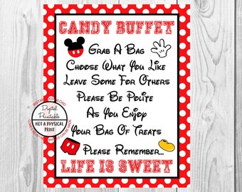"""Candy Buffet Life is Sweet Sign, Mickey Mouse Birthday Party Sign, 8""""x10"""" Printable, Instant Download"""