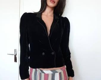 Superb Vintage Black VELVET Jacket Jean Louis SCHERRER Boutique PARIS Size 38 French Designer Made in France 80s 90s