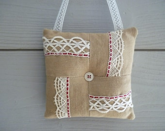 Decorative door cushion beige fabric and antique lace - hanging - cushion fabric cushion