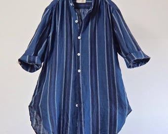 Indigo Stripe French Linen Stand-collar Shirt