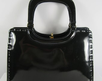 Vintage 1950s WIDEGATE Black Kelly Handbag Wedding, Christening, Ascot, Goodwood, Birthday, Christmas, Gifts for Her, Mother's Day