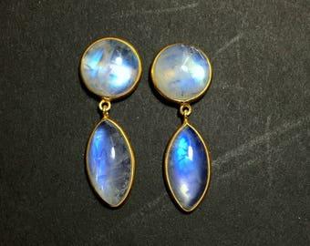Rainbow Moonstone Earrings | 54501 | Moonstone | Silver Earrings | Gold Plated Gemstone Ring | June Birthstone | Moonstone Engagement Ring