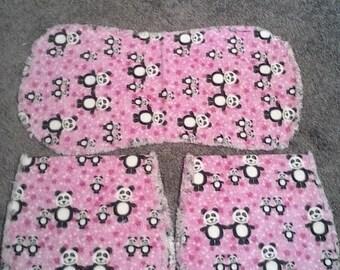 Baby, Pink panda burp cloth set