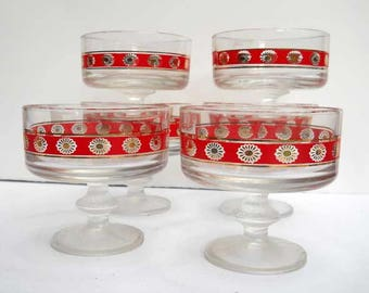 Italian Glass Dessert Set Fancy Footed Base Vintage x6