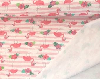 Flamingos baby clothing fabric, French Terry, Tricot, Flamingos, Oeko-Tex