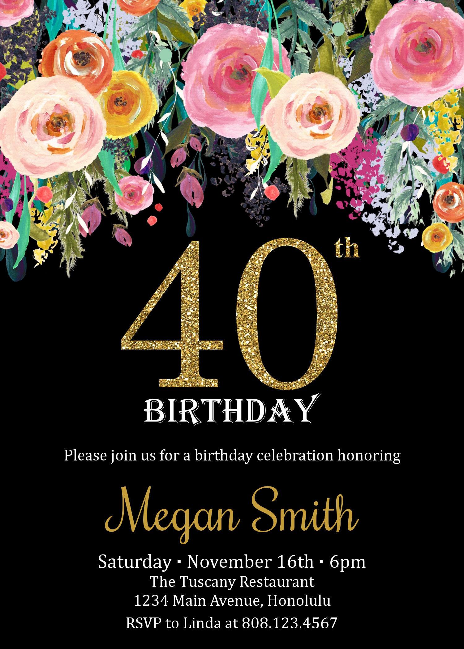 40th Birthday Invitation for Women. Surprise Birthday Invitation ...