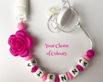 Personalized Fancy Silicone Pacifier Clip - Baby Girl Binky Clip - Flower Paci Clip - Chew Beads - soother clip - your choice of colors