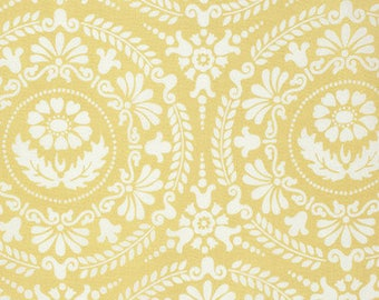 "BTHY - Nastalgia by Jennifer Paganelli for Free Soirit, Pattern #PWJP106.GOLDX Figgy, Large 6.5"" White Floral Medallions on Yellow"