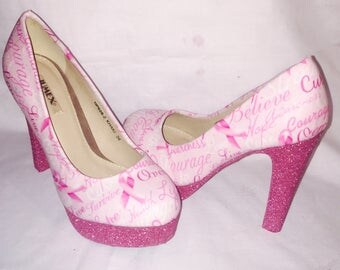 Breast cancer awareness shoes / heels * * * sizes 3-8