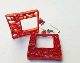 Red quilled earrings,  square shape,unique gift for women, paper jewelry