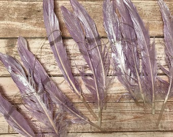 PURPLE .. Feather Garland, Feather Strand, Wall Hanging, Backdrop, Boho, Gypsy, Feathers