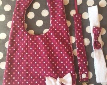 Matching set for birthday gift: bib, headband, pacifier clip