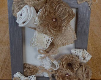 Frame floral design with burlap and lace flower