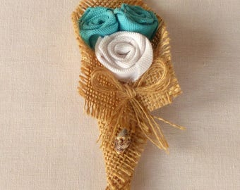 Boutonniere in Burlap and turquoise fabric