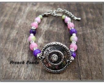 Bracelet sweet Anaïs purple, pink and green tones.
