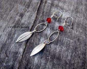 Pair of Silver earrings, Red Crystal bead