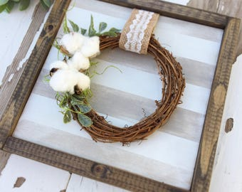 cotton wreath - wood sign