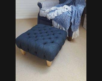 Deep buttoned denim footstool